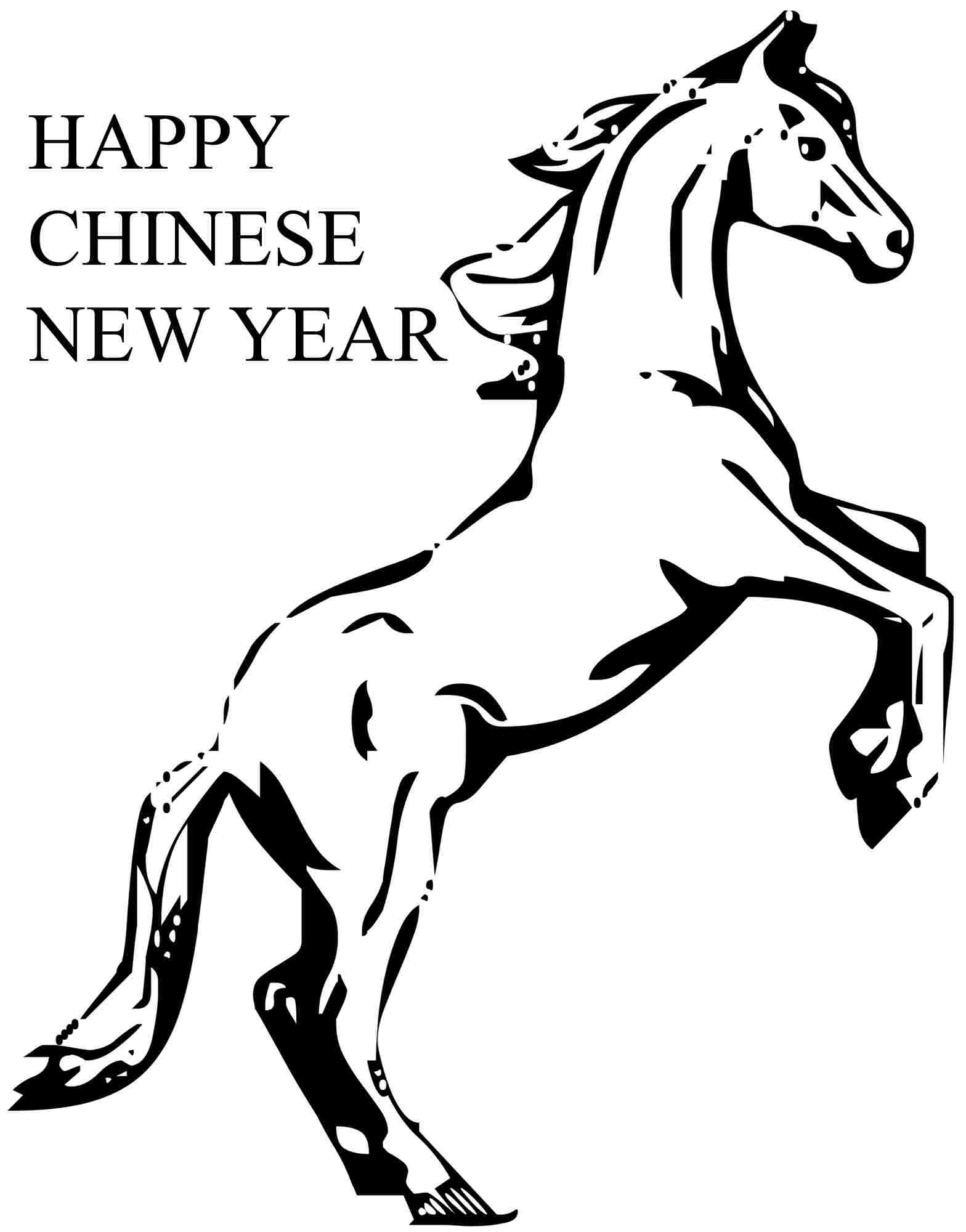 Wooden Horse Chinese New Year 2014 Colouring Pages
