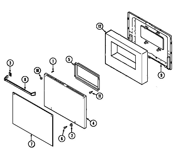 MAGIC CHEF Gas wall oven Door (9112vp) (9112vpv) Parts