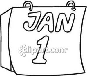 Clipart Picture of a New Year's Day Calendar
