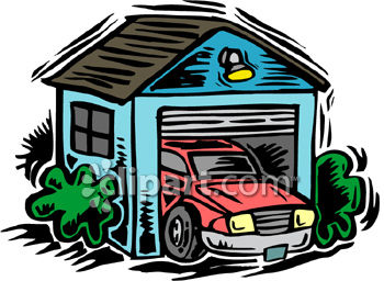 Car Parked In A Garage Royalty Free Clipart Picture