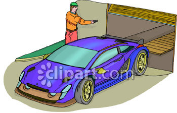 Royalty Free Clipart Image Man Helping Direct The Driver Park A Fancy Sports Car In A Garage