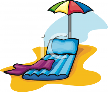 Clipart Picture of an Inflatable Beach Lounge Chair and