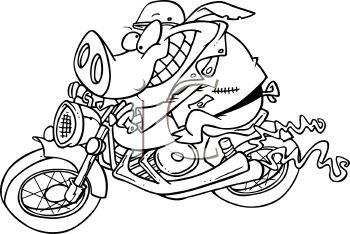 Royalty Free Clip Art Image: Hog on a Motorcycle