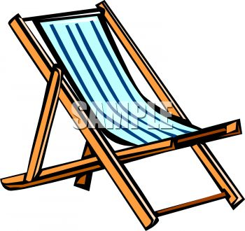 A Folding Beach Chair  Royalty Free Clipart Image