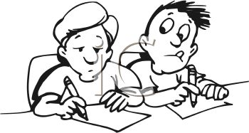 Royalty Free Clipart Image: Kid Looking at Another Kids
