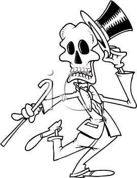 Black and White Halloween Cartoon of a Dancing Skeleton