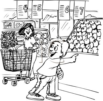 Black and White Cartoon of a Boy at the Supermarket with