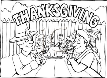 Royalty Free Clip Art Image: First Thanksgiving