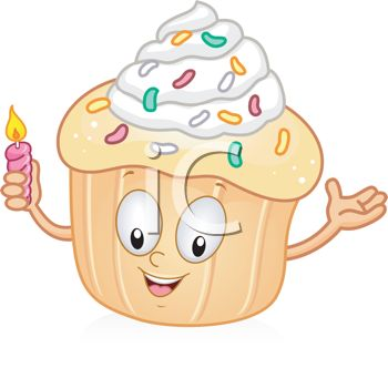 Royalty Free Clipart Image Cartoon Of An Animated Cupcake Holding A