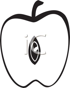 Picture of an Apple Cut In Half In a Vector Clip Art
