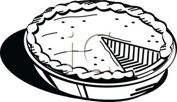 Picture of a Fresh Pumpkin Pie In Black and White In a