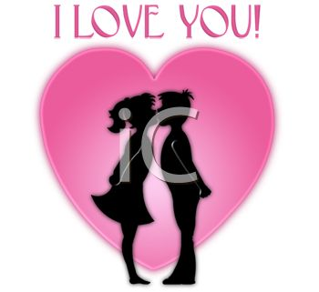 Picture Of A Silhouette Of A Boy And Girl Kisses In Front