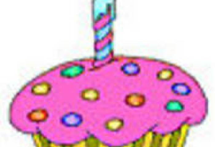 Free Clipart Picture Of A Pink Birthday Cupcake With A Candle