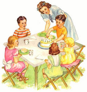 Free Clipart Picture of a Vintage Illustration of an Outdoor Birthday Party. Click Here to Get Free Images at Clipart Guide.com