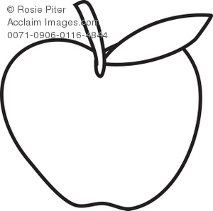 Apple Coloring Page with Leaf Royalty-Free Clip Art Image