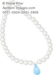 White Pearl Necklace With A Blue Jewel Royalty-Free Clip