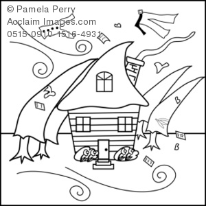 House in a Hurricane Coloring Page Royalty-Free Clip Art