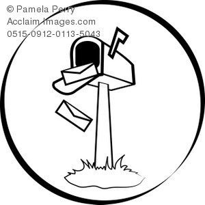 Black and White Clip Art Illustration of an Open Mailbox
