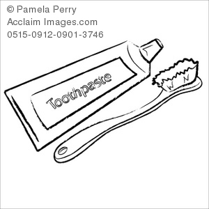 Clip Art Illustration of a Toothbrush and Toothpaste