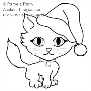 Clip Art Illustration of a Christmas Kitten Coloring Page