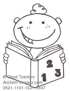 Clip Art Picture of Coloring Page of a Boy Studying Match