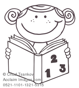 Clip Art Picture Coloring Page of a Girl Reading a Book