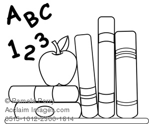 Clip Art Illustration of School Books, Abc, 123, and an