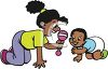 African American Sister Playing with Her Baby Brother clipart