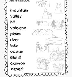 Lake Clipart Landform Plain - Landforms Worksheet For Grade 1  [ 1232 x 900 Pixel ]