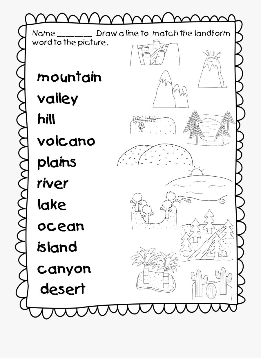 medium resolution of Lake Clipart Landform Plain - Landforms Worksheet For Grade 1