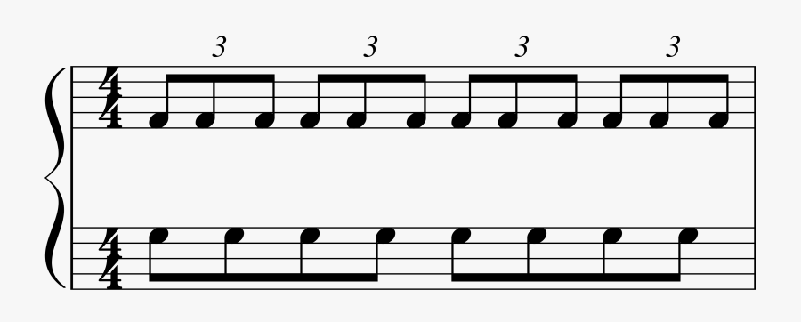 Piano Triplets Against Eighth Notes , Free Transparent
