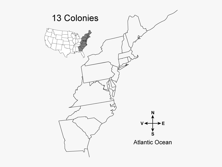 Blank Map Of The 13 Colonies , Free Transparent Clipart