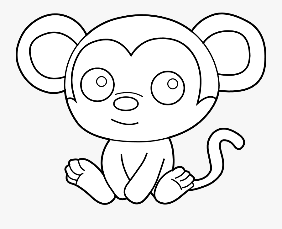 Transparent Cute Monkey Png Outline Of A Baby Monkey Free Transparent Clipart Clipartkey