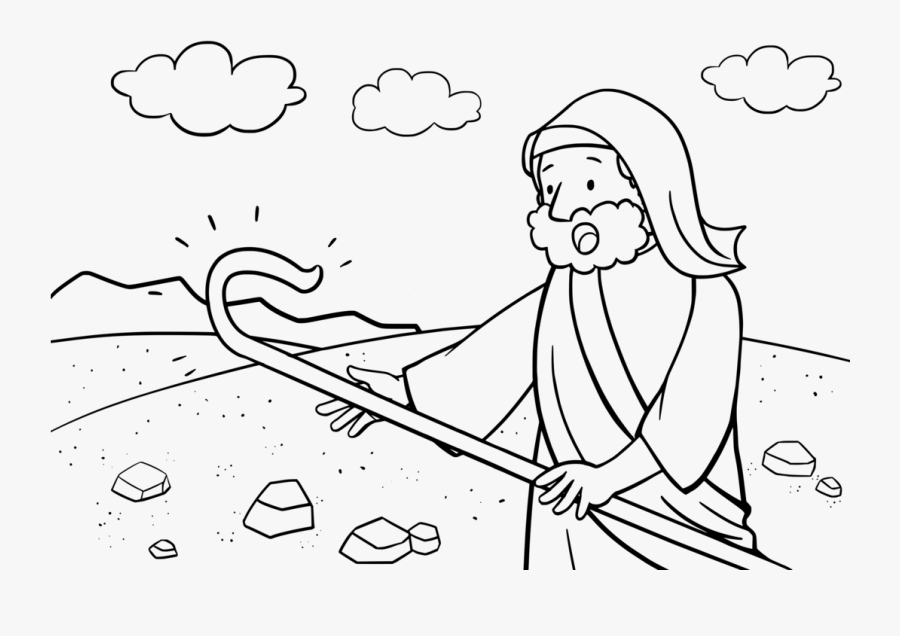 Moses And His Staff Coloring Page , Free Transparent