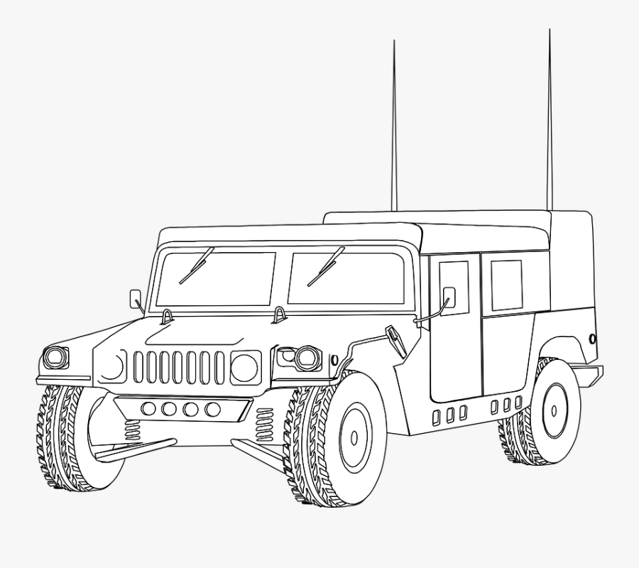 Hummer, Humvee, Vehicle, Military, Jeep, Outline, Car