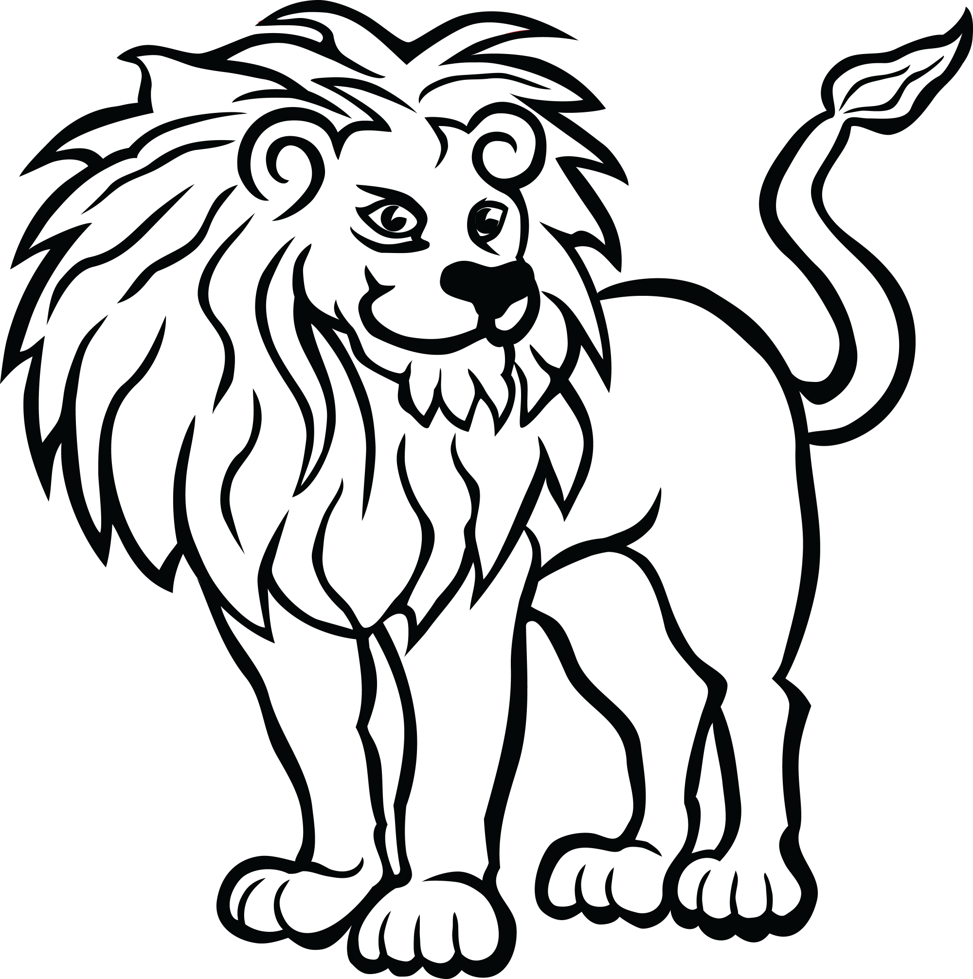hight resolution of free clipart of a lion zoo animals coloring pages 4000x4024