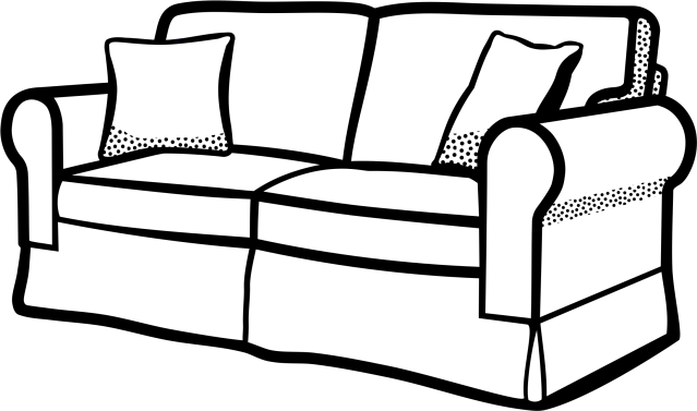 Clipart Sofa Lineart - Living Room Coloring Page - (30x30) Png