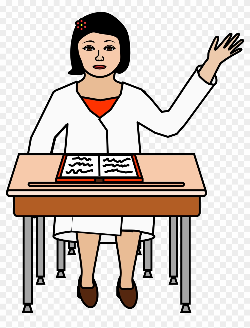 hight resolution of student sitting at desk raising hand clipart alumno levantando la mano png