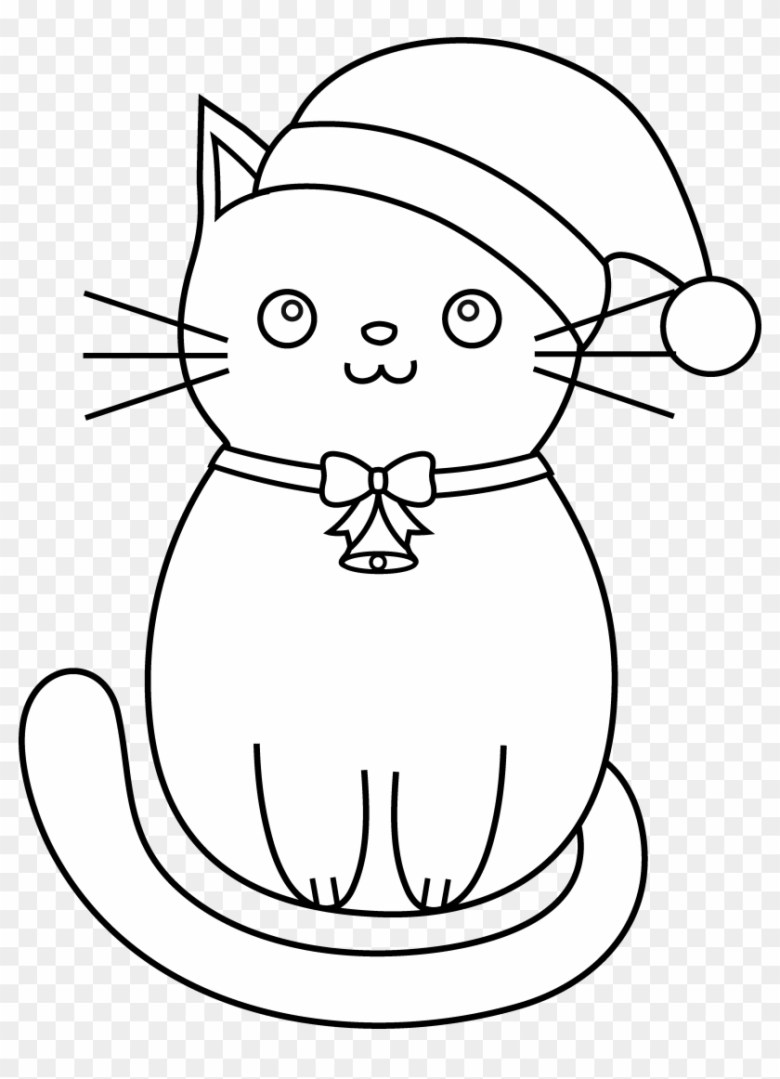 cat clipart line art - christmas kittens coloring pages - free
