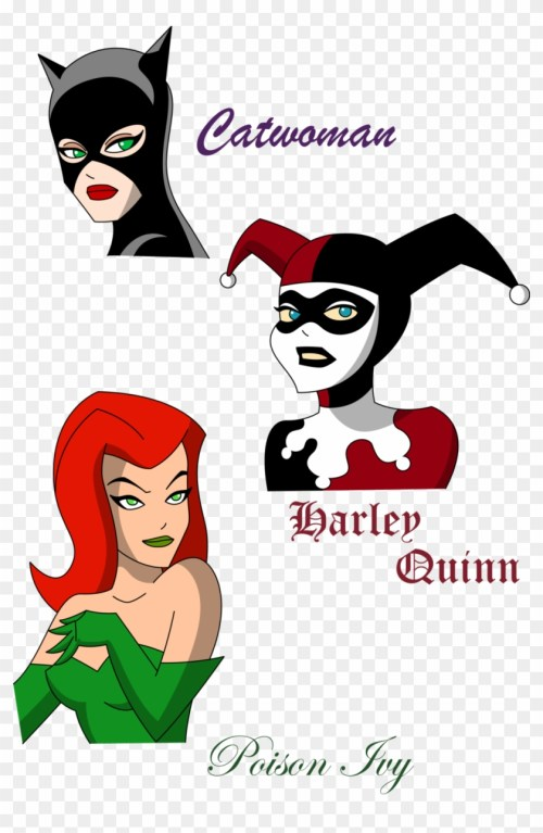 small resolution of harley quinn clipart face cartoon poison ivy and harley quinn 697287