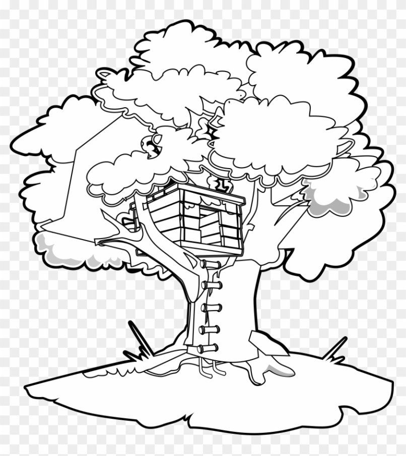 Tree House Coloring Picture Mountainstyle Co
