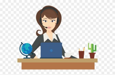 This is an image of a clipart picture which shows a receptionist who is helping other people.