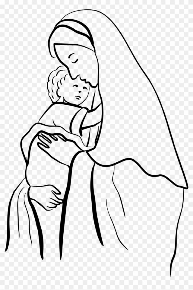 Clipart - Mary And Jesus Coloring Page - Free Transparent PNG