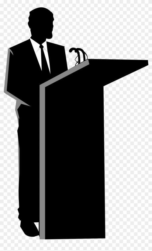 small resolution of no speaking please person behind a podium 174505