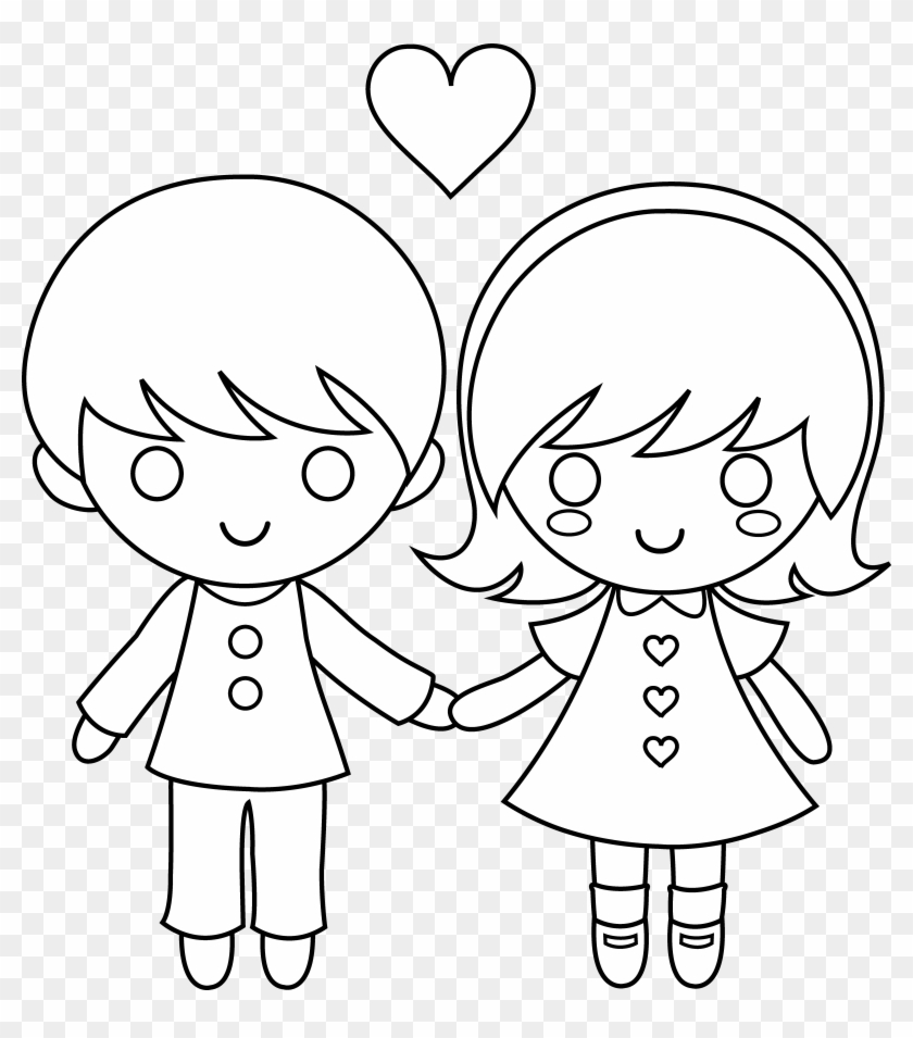 hight resolution of valentine s day clipart love child draw a little boy and girl holding hands 1054042