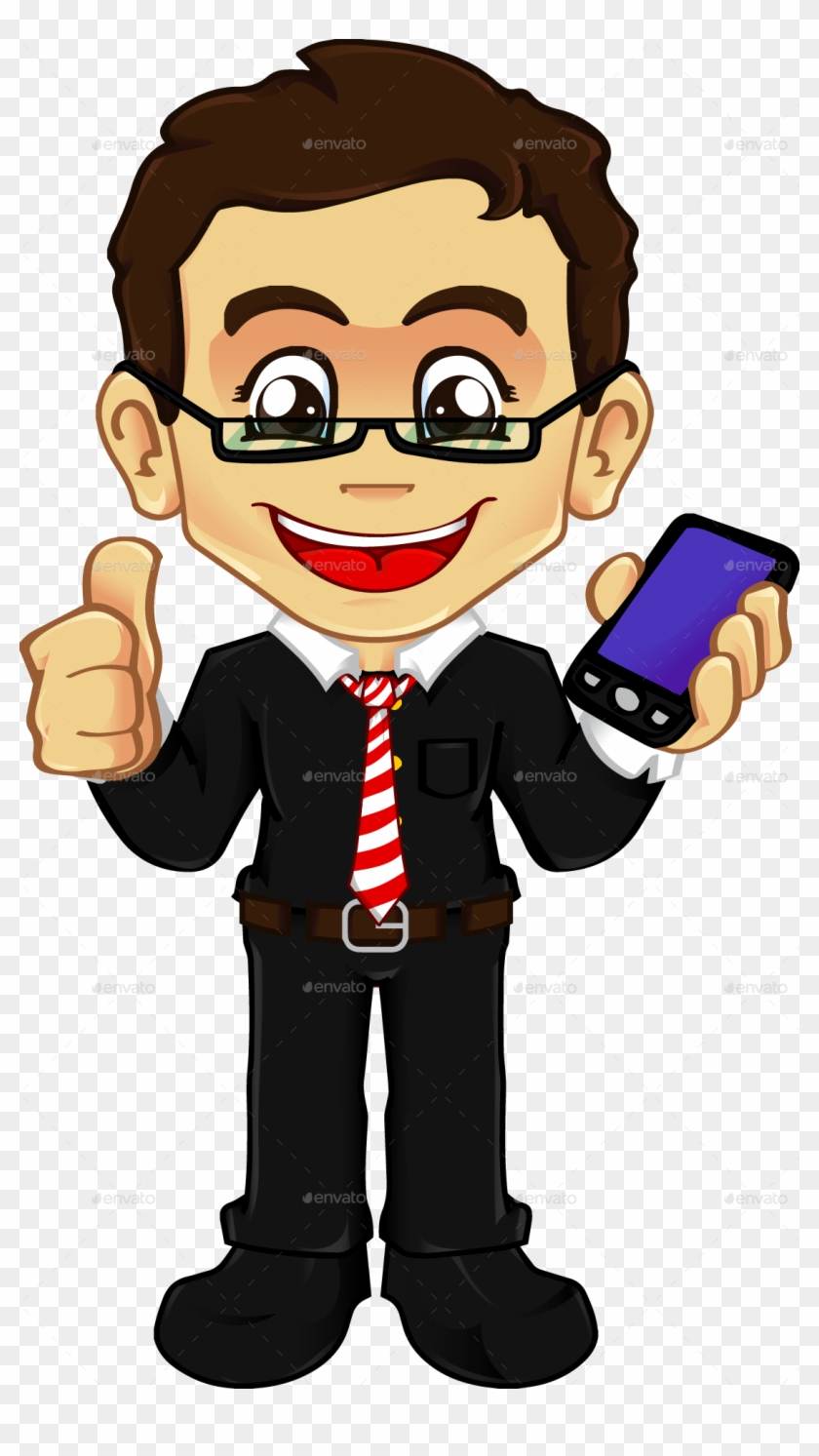 hight resolution of businessman with cellphone boy with phone png