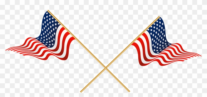 usa crossed flags transparent