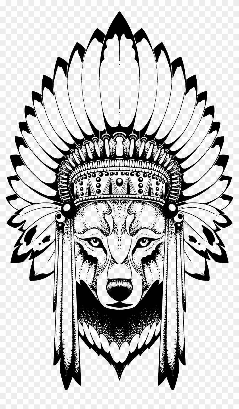 hight resolution of anastasiya avina wolf with indian headdress free transparent png png 840x1436 skull indian headdress clipart