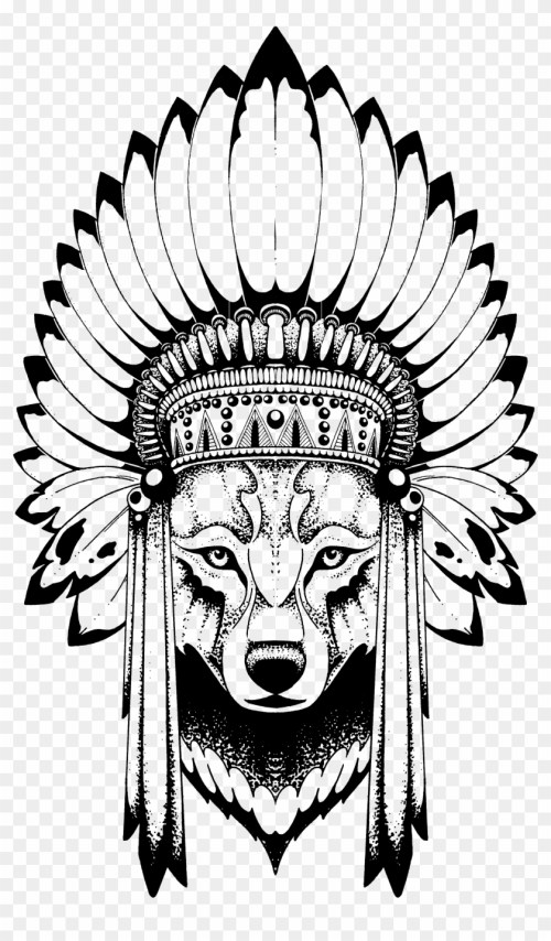 small resolution of anastasiya avina wolf with indian headdress free transparent png png 840x1436 skull indian headdress clipart