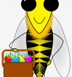 bee clipart easter happy easter bumble bee with a basket [ 840 x 1383 Pixel ]